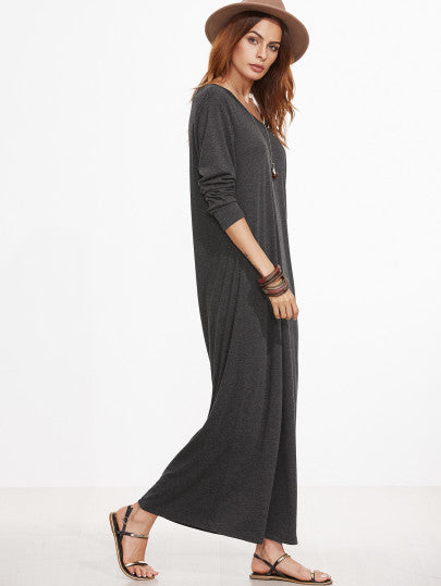 Grey Scoop Neck Maxi Dress With Sleeves