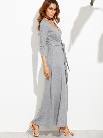 Grey Wrap Maxi Dress With Bow And Pockets Lyfie