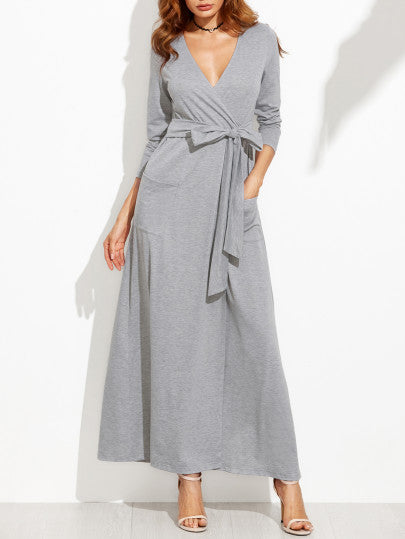 Grey Wrap Maxi Dress with Bow and Pockets