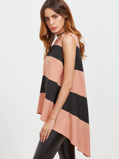 High Low Pink Black Striped Top