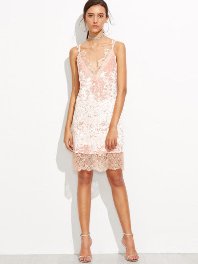 Lace Trim Velvet Sleeveless Soft Pink Dress