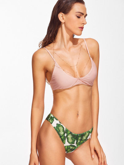 Leaf Bottom Pink Top Bikini Bathing Suit Set