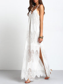 a61708b30742 Long Boho White Cream Deep V Neck Split Slip Maxi Dress – Lyfie