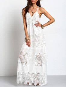Long Boho White Cream Deep V Neck Split Slip Maxi Dress