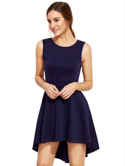 Navy Blue Asymmetrical Flare Skater Dress