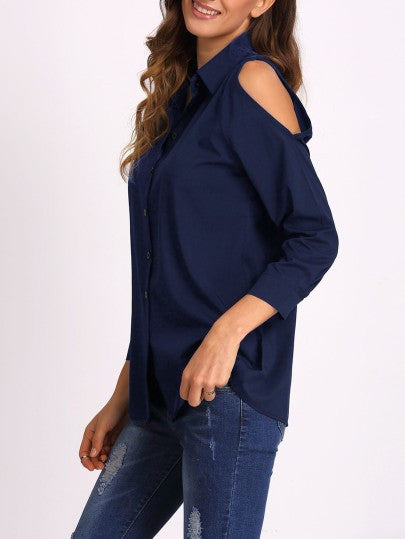 Navy Blue Cold Shoulder Collared Shirt Blouse.