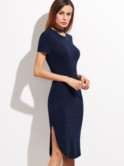 Navy Short Sleeve Split Hem Dress