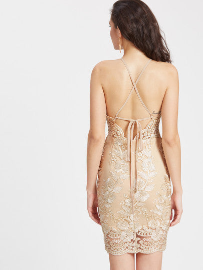 Nude Color Criss Cross Back Embroidered Dress