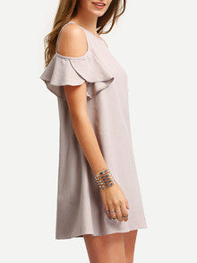 Nude Summer Open Shoulder Nude Cold Shoulder Ruffle Sleeves Shift Dress