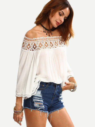 Off the Shoulder Crochet Lace Long Sleeve Top