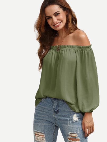 Off the Shoulder Green Ruffle Top Blouse