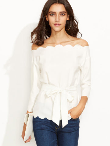 Off the Shoulder Scallop Trim White Blouse with Front Bow