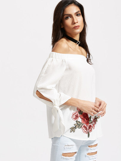 Off the Shoulder White Floral Print Top