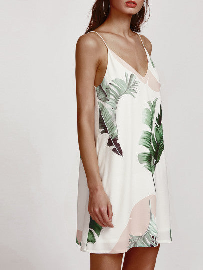 Palm Leaf Printed Casual Shift Spaghetti Strap Dress
