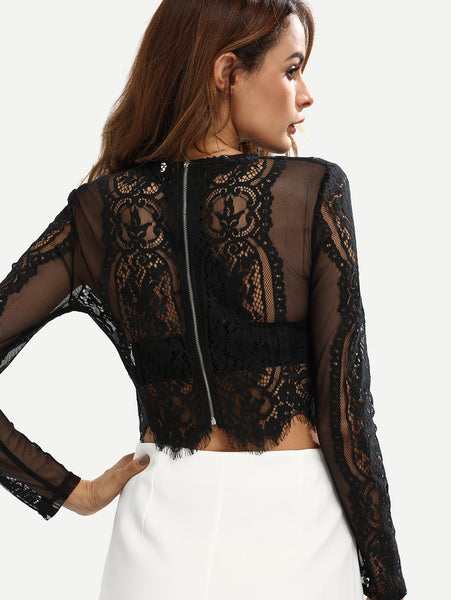 Party Sexy Black Lace See-through Crop Blouse