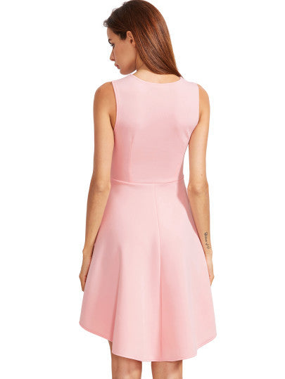 321261160f4 Pink Asymmetrical Flare Dress Sleeveless Mini Dress. LYFIE