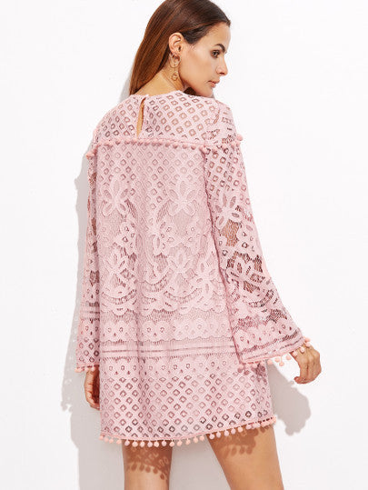 Pink Crochet Long Sleeve Dress