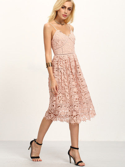 Pink Lace Crochet Hollow Out Flare Maxi Cami Trendy Chic Dress Lyfie