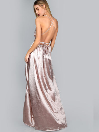 Pink Maxi Dress with High Slit and Criss Cross Back