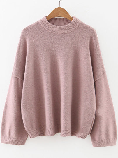 Pink Oversize Sleeve Crew Neck Sweater