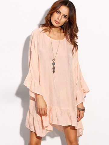 Pink Ruffle Hem Long Sleeve Boho Dress