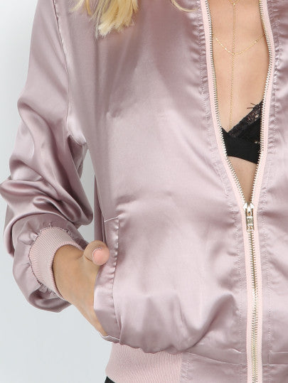 Pink Satin Trendy Bomber Jacket