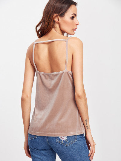 Pink Sexy Lace Backless Cami Top
