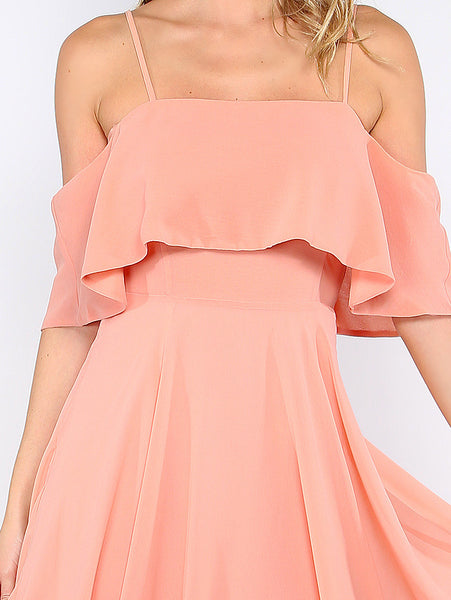 Pink Spaghetti Strap Ruffle Dress