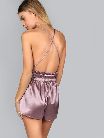 Purple Silk Sexy Romper