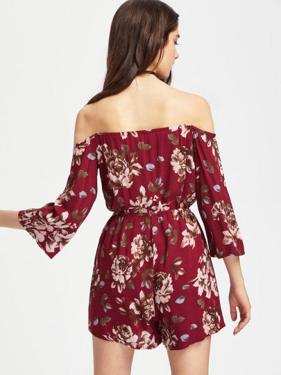 Red Floral Print Half Sleeve Off the Shoulder Romper Playsuit