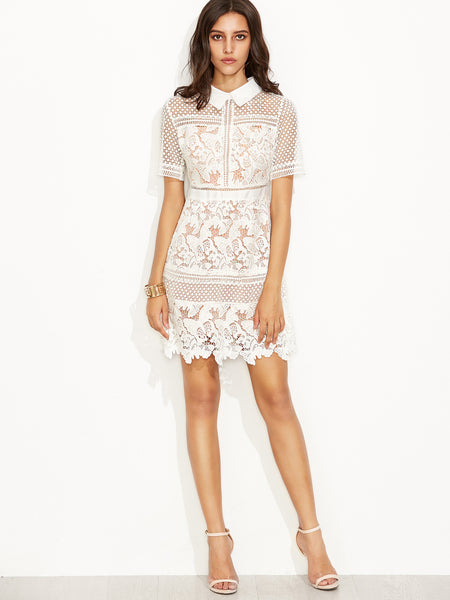 Romantic White Lace Crochet Chic Overlay Shirt Dress Lyfie