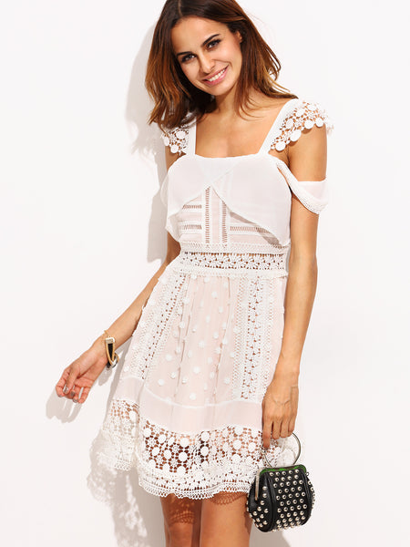 ☀ Romantic White Lace Trim Open Shoulder Lace Dress ☀