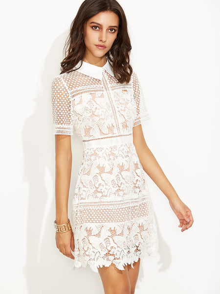☆ Romantic White Lace Crochet Chic Overlay Shirt Dress ☆