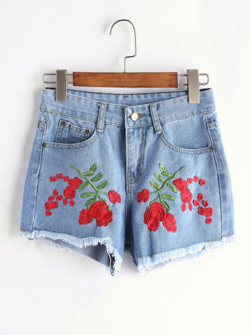 Rose Print Denim Jean Shorts
