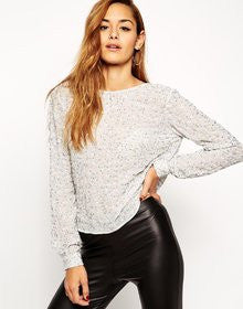 Sexy Sequin Backless White Long Sleeve Shirt