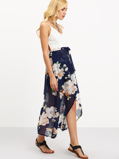 Summer Women Spaghetti Strap Contrast Lace Wrap Florals Dress