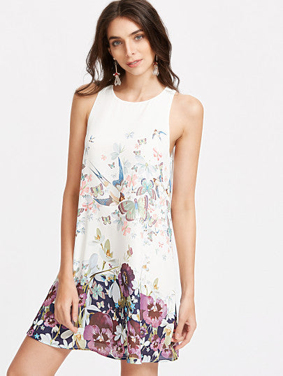 Spring Summer Sleeveless Floral Bird Print Dress