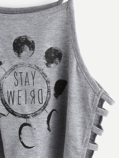 Stay Weird Crop Top with Ladder Cut Out Sides