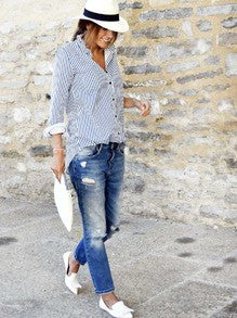 ✿ ✿ Summer Blue Lapel Vertical Striped Blouse ✿ ✿