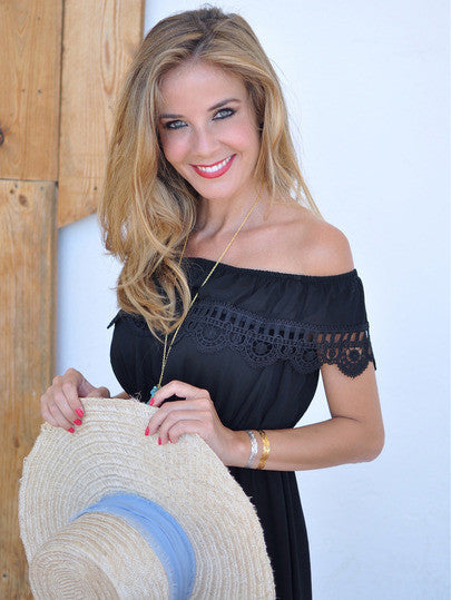 Summer Black Off the Shoulder Lace Scalloped Casual Dress