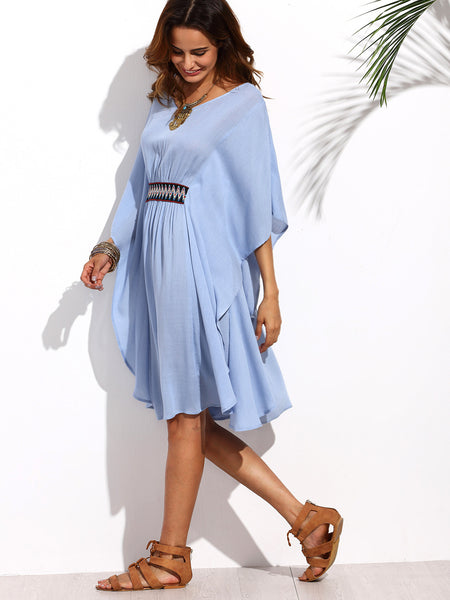 ☀ Summer Blue Batwing Sleeve Tie Backless Dress ☀