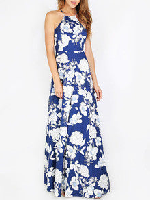 Summer Blue Halter Neck Floral Print Maxi Dress
