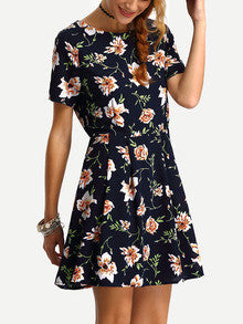 Summer Floral Short Sleeve Flower Print A-Line Dress