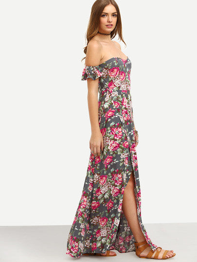 Summer Long Dress Multicolor Floral Off The Shoulder Split Maxi Dress