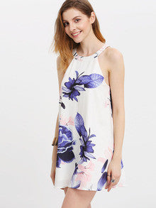 Summer Multicolor Floral Print Halter Back Dress