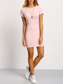 3675ccb88c Summer Pink Crew Neck Striped Sheath Dress. LYFIE