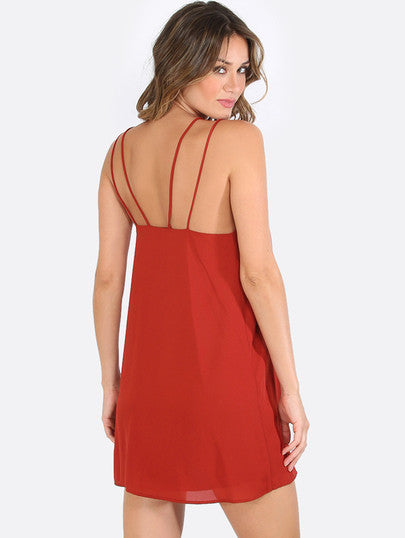 Summer Red Cut Away Sleeveless Shift Dress