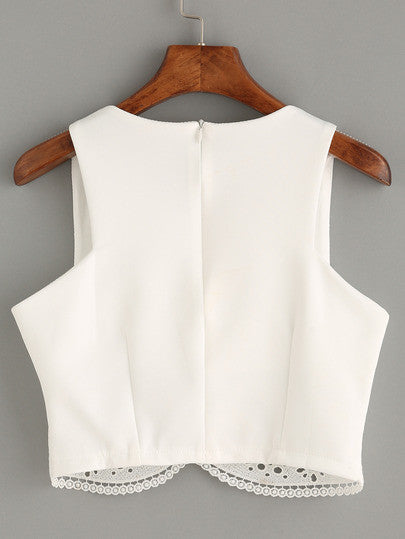 Summer Romantic White Lace Trim Crop Tank Top