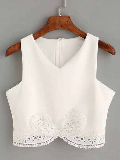 02fccdbeceef2 Summer Romantic White Lace Trim Crop Tank Top – Lyfie