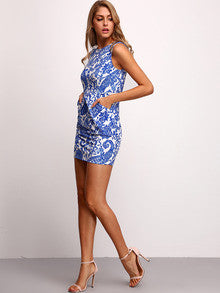 Summer Sexy Mini Blue Sleeveless Tribal Print Bodycon Dress